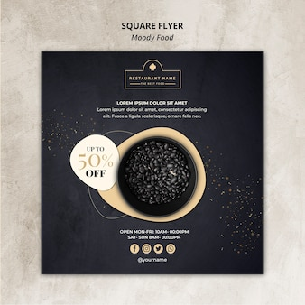 Koncepcja markowe jedzenie restauracja kwadrat ulotki