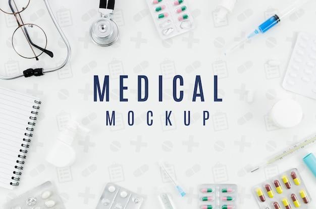Koncepcja medyczna widok z góry z makiety