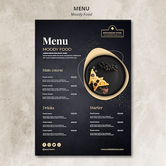 Koncepcja menu restauracji moody food