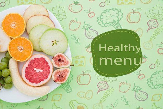 Koncepcja menu smaczne zdrowe jedzenie z miejsce