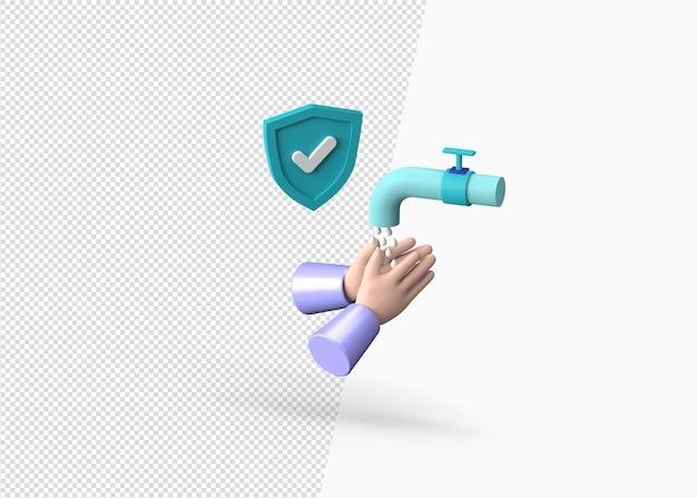 Koncepcja mycia rąk renderowania 3d ze znakiem ochrony