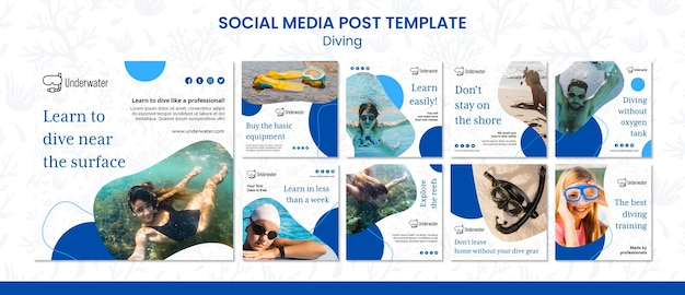 Koncepcja nurkowania szablon postu w mediach społecznościowych