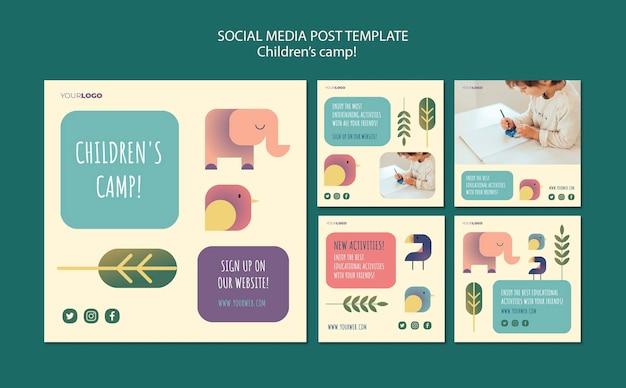 Koncepcja obozu dla dzieci szablon postu w mediach społecznościowych