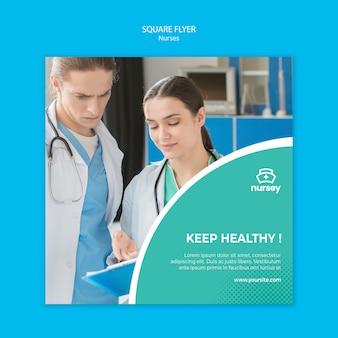 Koncepcja opieki zdrowotnej kwadratowy projekt ulotki
