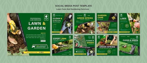 Koncepcja pielęgnacji trawnika szablon postu w mediach społecznościowych