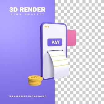 Koncepcja płatności online renderingu 3d z naciśnięciem przycisku płatności.