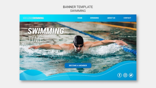 Koncepcja pływania na baner