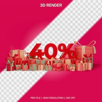 Koncepcja rabatu liczbowego z prezentami wokół i przezroczystym tłem w projekcie 3d