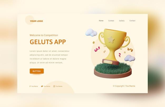 Koncepcja renderowania 3d aplikacji konkursowej z chmurą trofeum i trawą podium