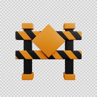 Koncepcja renderowania 3d ikona budowy blokada drogi
