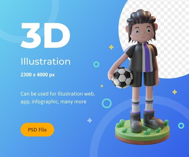Koncepcja renderowania 3d ilustracja postaci piłkarzy, używana do sieci, aplikacji, infografik itp