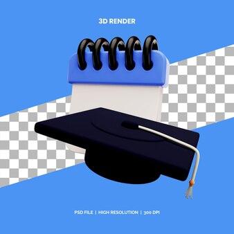 Koncepcja renderowania ikon 3d data ukończenia szkoły