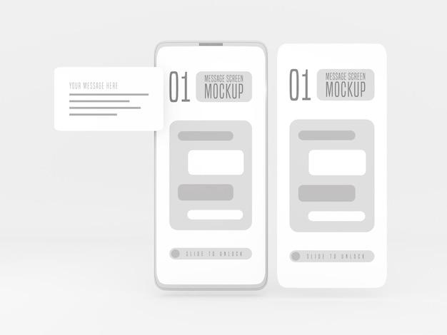 Koncepcja rozmowy wiadomości na makiecie telefonu komórkowego