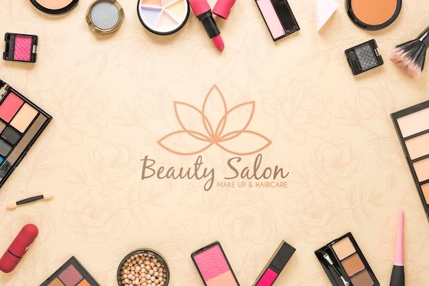 Koncepcja salon kosmetyczny leżał płasko