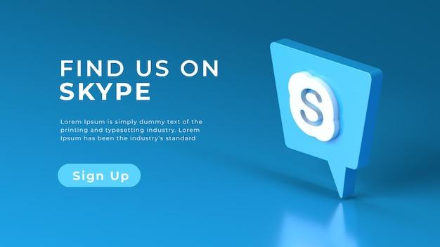 Koncepcja sieci web na białym tle logo skype 3d