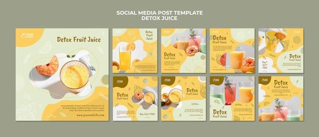 Koncepcja soku detoksykacyjnego szablon postu w mediach społecznościowych