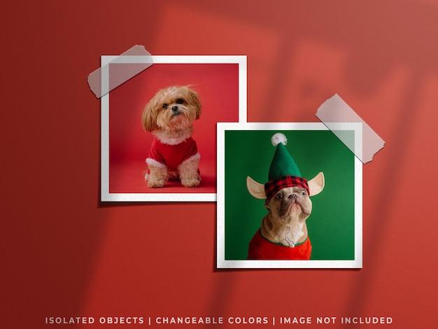 Koncepcja świąteczna świąteczna makieta ściany moodboard papierowa ramka na zdjęcia zestaw kolaży na białym tle