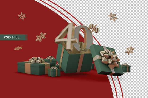 Koncepcja świątecznej wyprzedaży z 40-procentową zniżką na promocyjne pudełka upominkowe