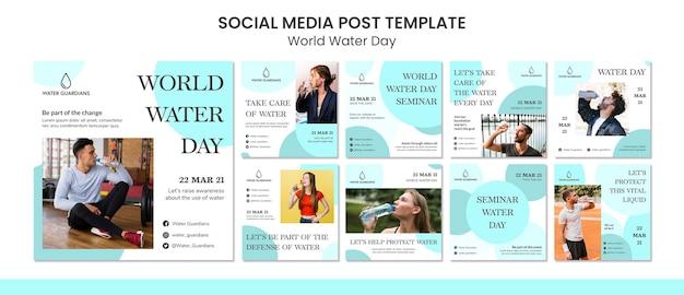 Koncepcja światowego dnia wody szablon postu w mediach społecznościowych
