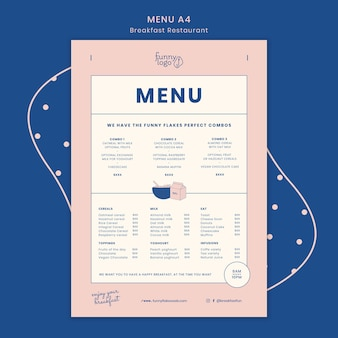 Koncepcja szablon menu restauracji