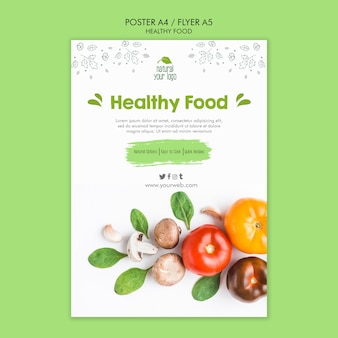 Koncepcja szablon plakat zdrowej żywności