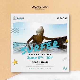 Koncepcja szablon ulotki surfer