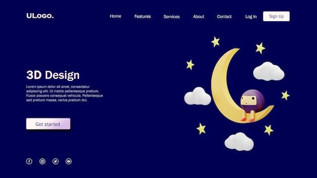 Koncepcja szablonu strony docelowej z księżycem i uroczymi okrągłymi postaciami w projekcie 3d