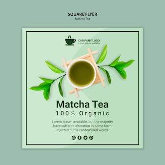 Koncepcja szablonu ulotki herbaty matcha
