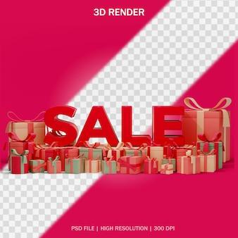 Koncepcja tekstu sprzedaży z prezentami wokół i przezroczystym tłem w projekcie 3d