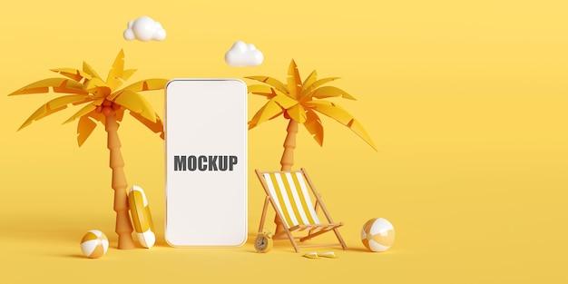 Koncepcja wakacji letnich z makietą smartfona
