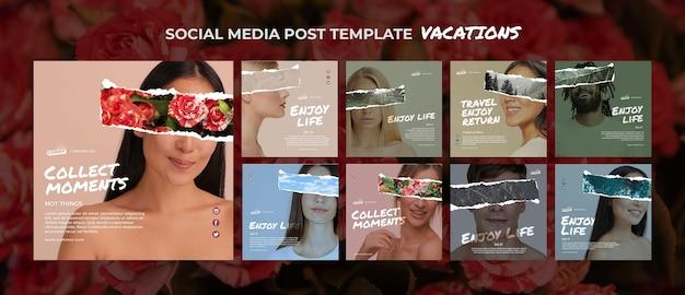 Koncepcja wakacji szablon postu w mediach społecznościowych