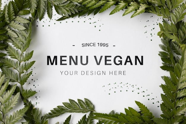 Koncepcja wegańska menu widoku z góry z makietą