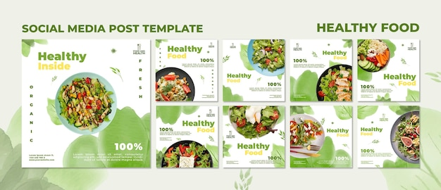 Koncepcja zdrowej żywności szablon postu w mediach społecznościowych