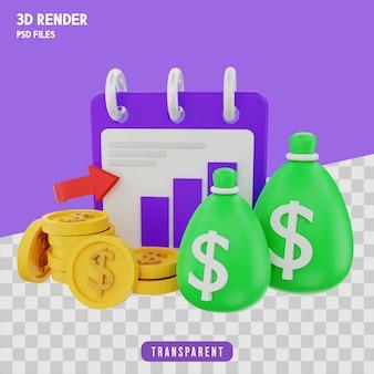 Koncepcja zysku z inwestycji renderowania 3d izolowana premium