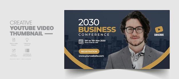 Konferencja biznesowa miniatura wideo youtube i szablon banera internetowego