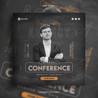 Konferencja biznesowa na seminarium internetowe promujące media społecznościowe na instagramie post banner z czystą makieta
