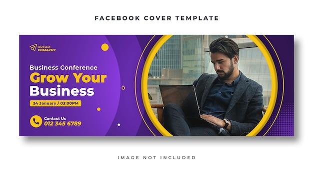 Konferencja biznesowa szablon banera internetowego na okładkę na facebooku