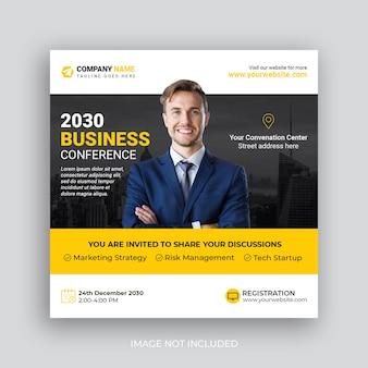 Konferencja w mediach społecznościowych po marketingu biznesowym baner społecznościowy