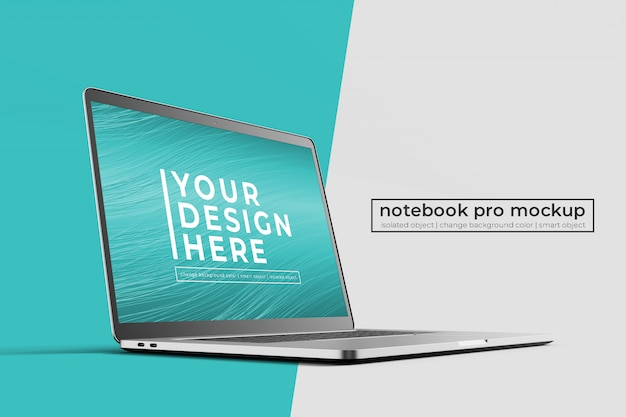 Konfigurowalna realistyczna makieta renderowania 3d w łatwym 15-calowym laptopie pro do internetu i interfejsu użytkownika z przodu po lewej stronie