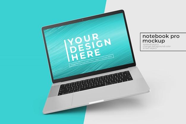 Konfigurowalny, łatwy do edycji laptop mobilny makiety psd projekt w lewo obrócona pozycja w lewym widoku