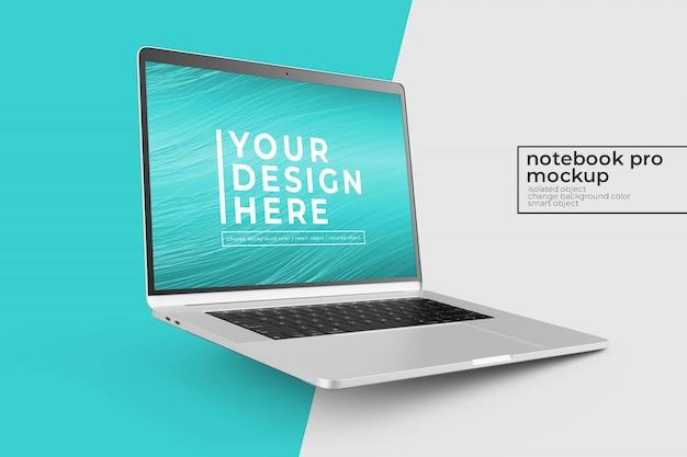 Konfigurowalny realistyczny mobilny notebook pro mock ups design w prawej pozycji obróconej w widoku z lewej strony