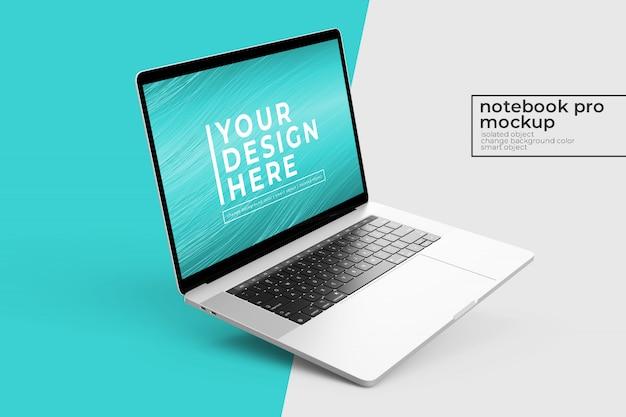 Konfigurowalny realistyczny projekt makiety mobilnego notebooka w lewej pochylonej pozycji w lewym widoku