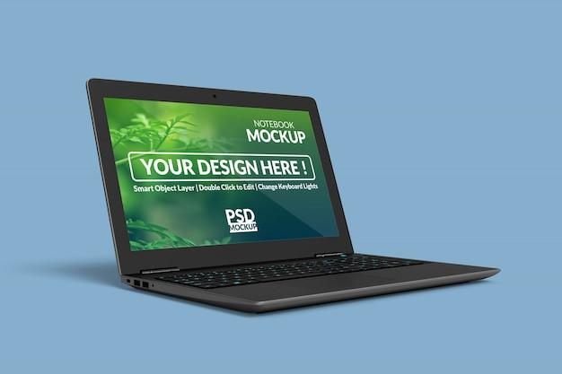 Konfigurowalny realistyczny projekt makiety notebooka w obróconej w lewo pozycji w prawym widoku