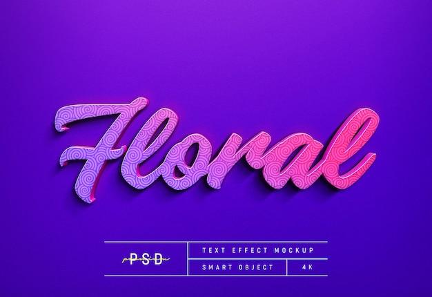 Konfigurowalny szablon makiety efektu stylu tekstu kwiatowego