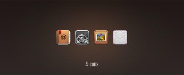 Kontakty, ustawienia, zdjęć i ikony wymiany poczty