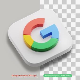 Konto aplikacji google 3d ikona koncepcja logo w okrągłym rogu kwadratu w rzucie izometrycznym