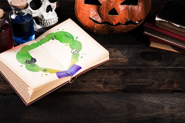 Kopiowanie miejsca halloween tła z dekoracją