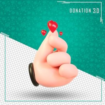 Koreański palec serce symbol 3d z renderowania 3d