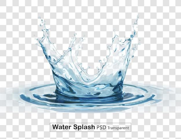 Korona plusk wody przezroczysty na białym tle