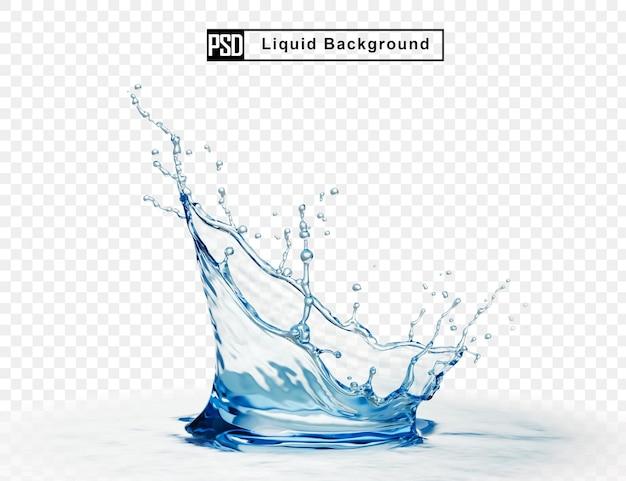 Korona wody płyn powitalny na białym tle
